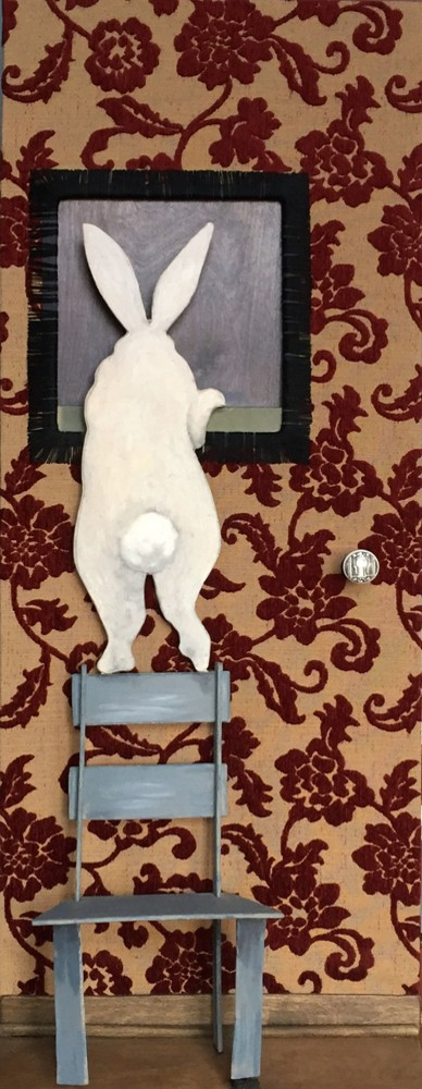 """Lenny - oil on wood, assembled wood with fabric - 18x36"""""""