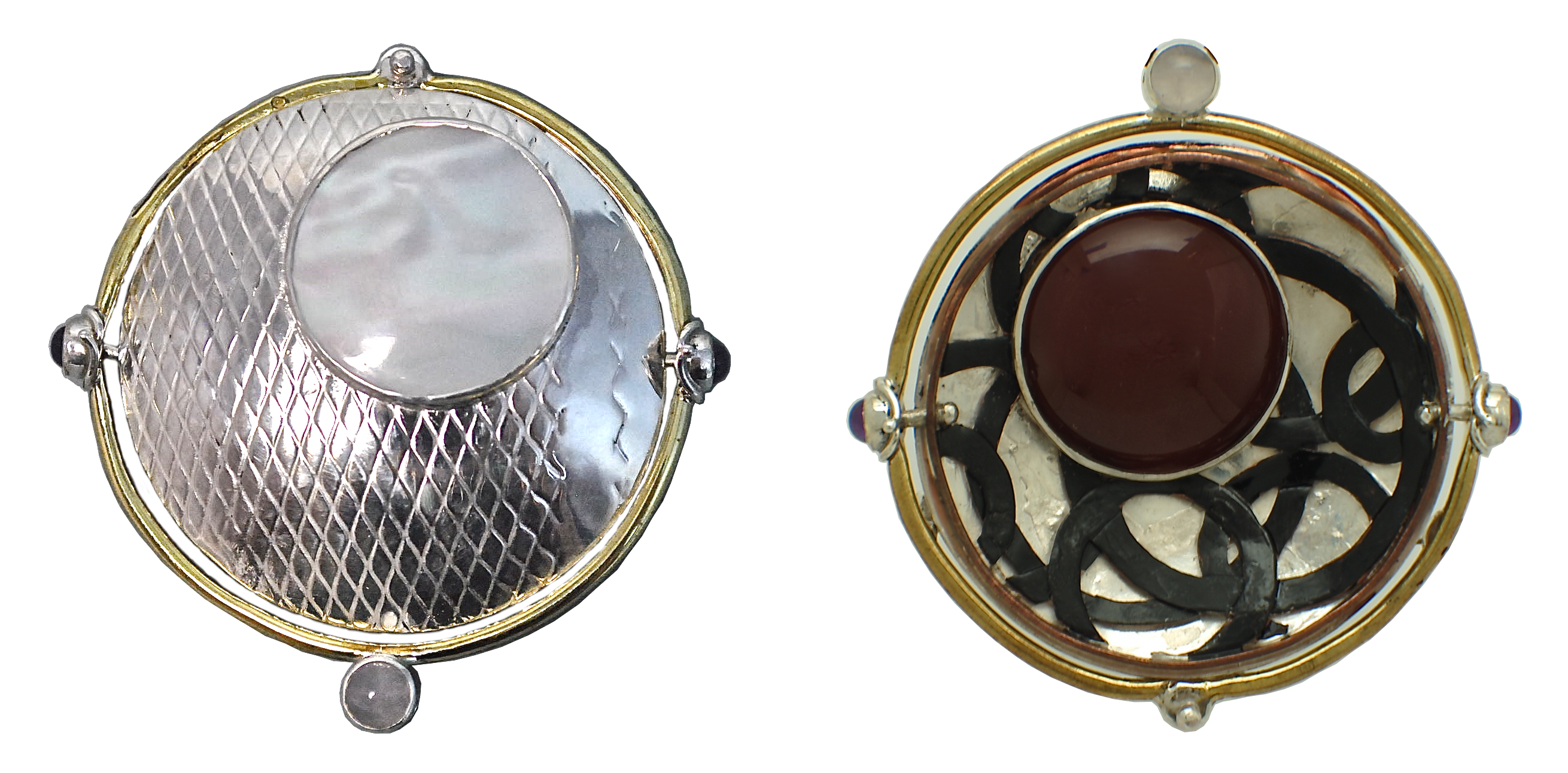 Sterling silver, brass, and copper two-sided pin/pendant set with rose quartz and amethyst on hinge and mother of pearl on one side and carnelian on opposite side. 2017.