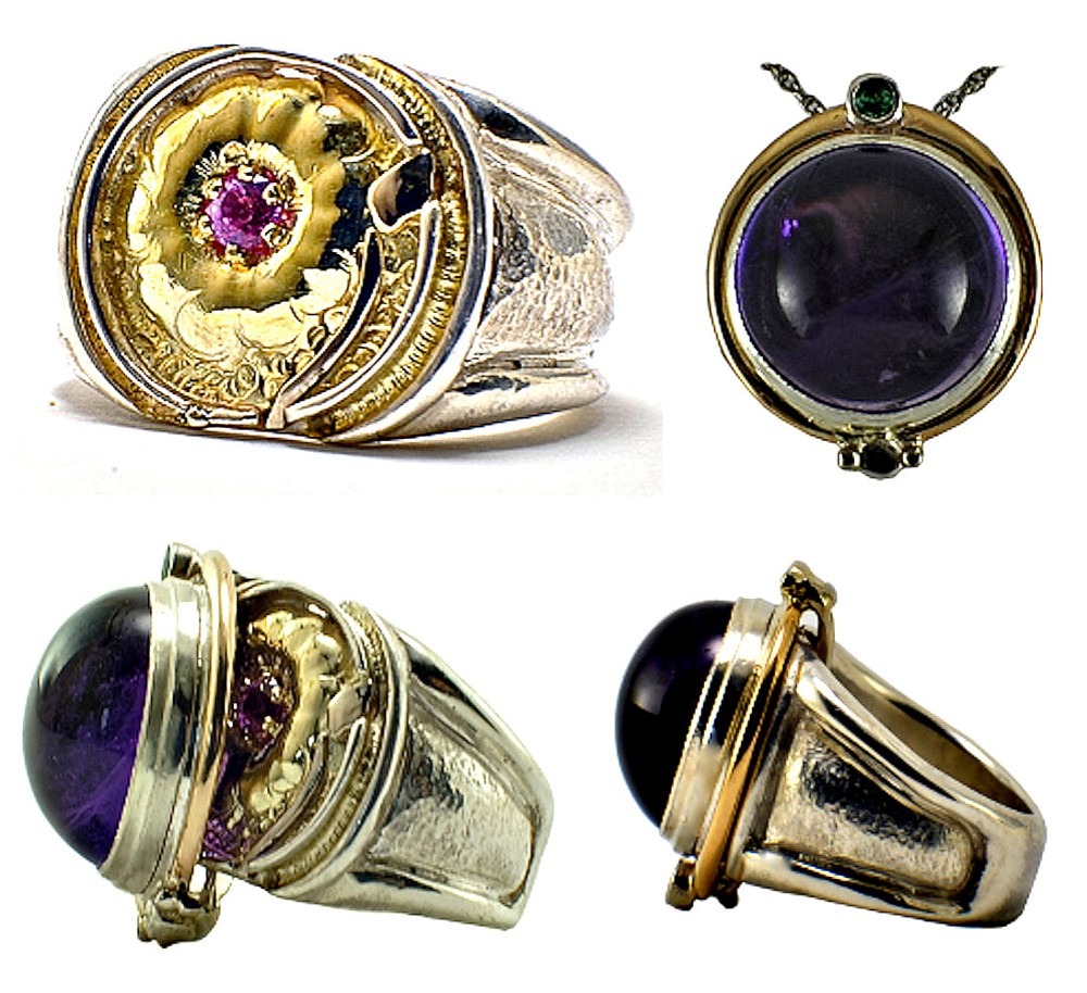 """""""Peony Ring"""" and Amethyst Pendant: 14kt yellow gold and sterling silver ring set with pink sapphire. Ring and pendant. 2017."""