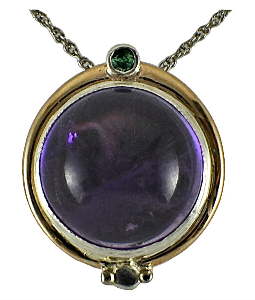 (Amethyst pendant as shown in photo #1. Sterling silver and 14kt gold pearl enhancer set with 8mm round cabochon amethyst and 3mm round emerald. Can be worn as a pendant or placed over peony ring (see first photo). 2017.