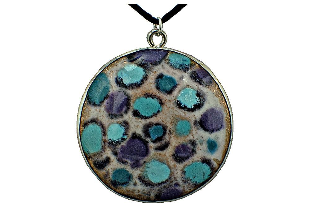 """""""Purple Rain"""" 20 mm enameled copper set in sterling silver pendant. 2017."""