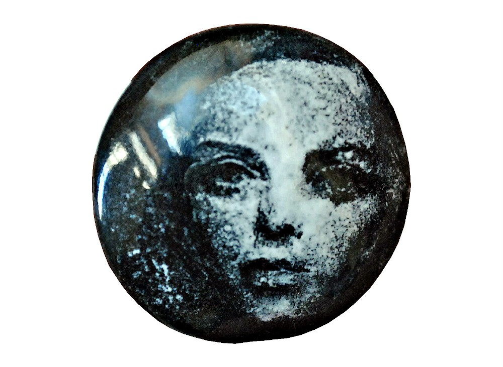"""""""Twiggy"""" Grissaille enamel on 20 mm round copper pendant. 2017."""