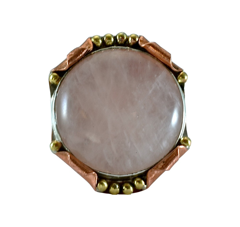 Copper, brass, and silver pendant set with 12mm round rose quartz. 2017.