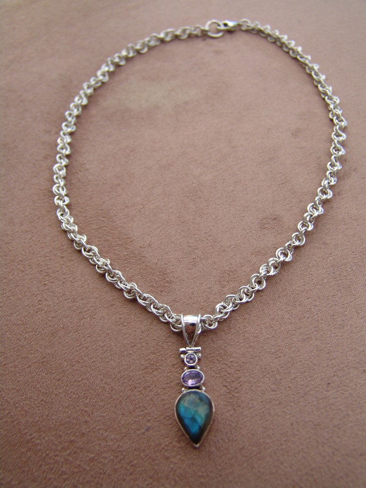 Mobius weave necklace with amethyst and labradorite pendant, hand made sterling silver