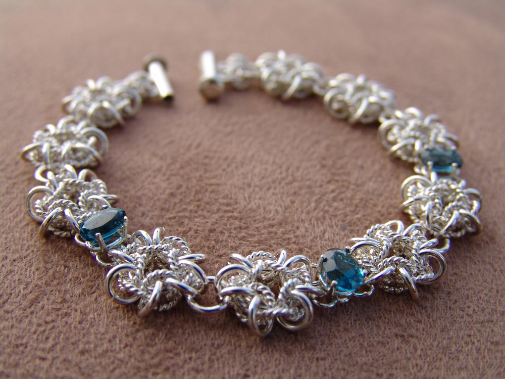 Vipera Star weave bracelet in sterling silver with London blue topaz