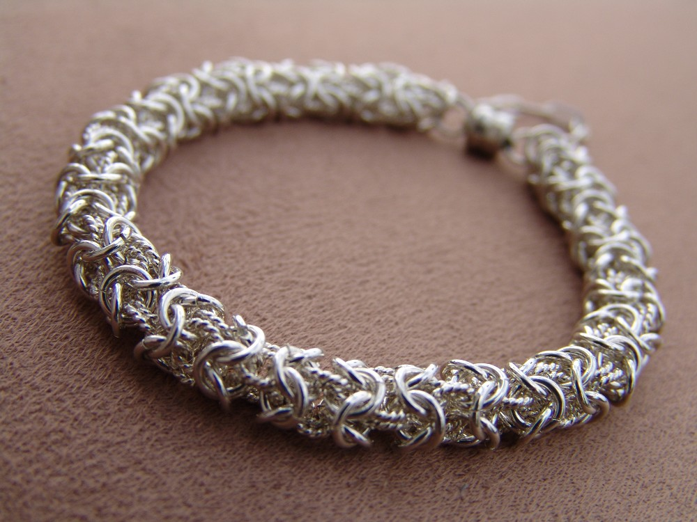 Turkish round weave bracelet, sterling silver twisted and smooth wire