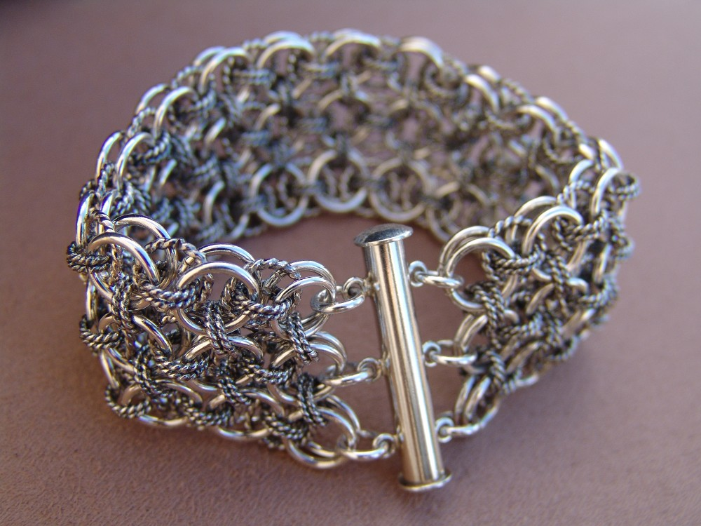 Celtic weave cuff bracelet with smooth wire and oxidized twisted wire