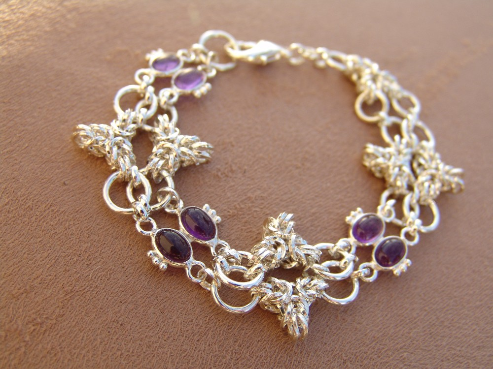 Tripoli weave in sterling silver with amethysts