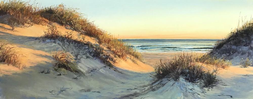 """November Sunrise in Coquina"" - pastel - 20x8"""