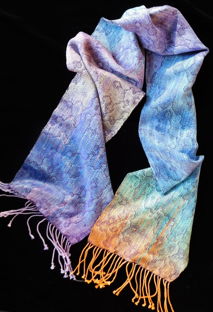 """""""Pacific"""" - hand dyed hand woven silk scarf - 75x9½"""" - 2017"""