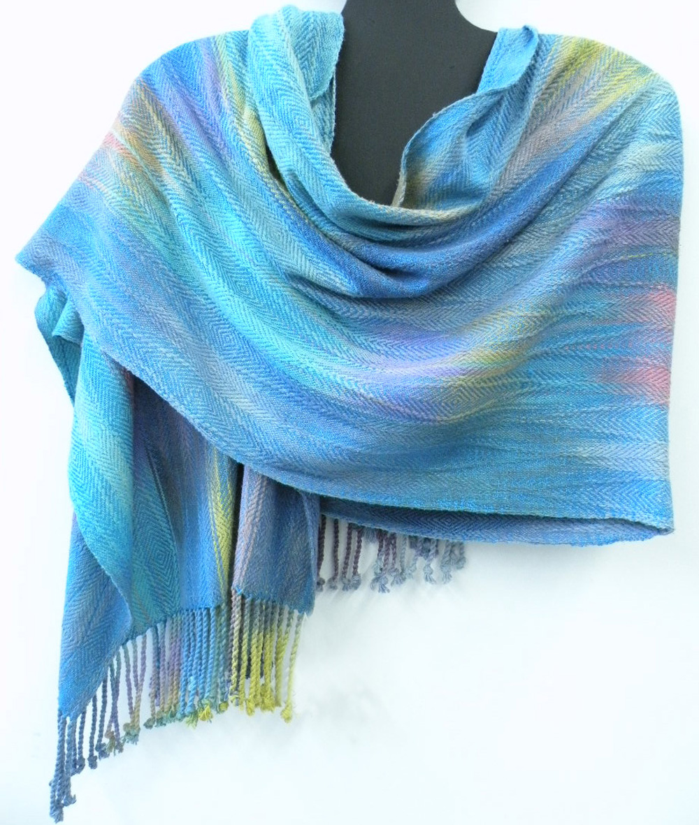 """Ikat Shawl"" - hand dyed hand woven silk and wool shawl - 26x85"" - 2016"